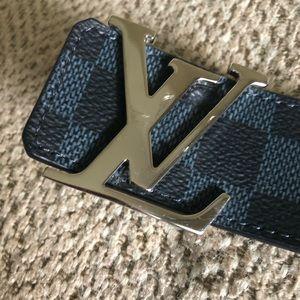 Louis Vuitton Accessories - LV Black / Blue-Grey check belt Great Condition